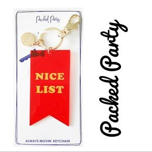 PACKED PARTY 🎊 NICE LIST KEYCHAIN FOB NEW